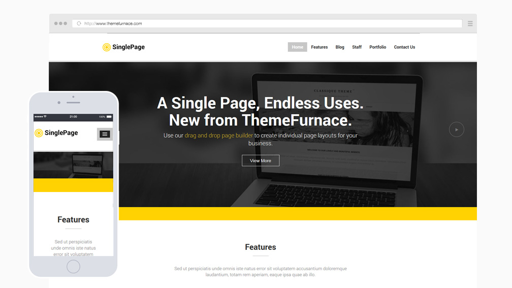 Single Page - One Page WordPress Theme built with Angular.JS