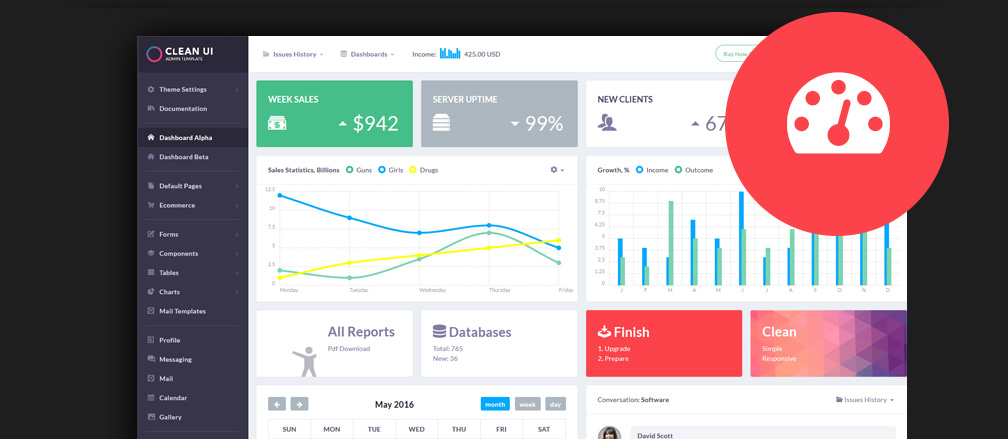 60+ Best HTML 5 Admin & Dashboard Templates 2017