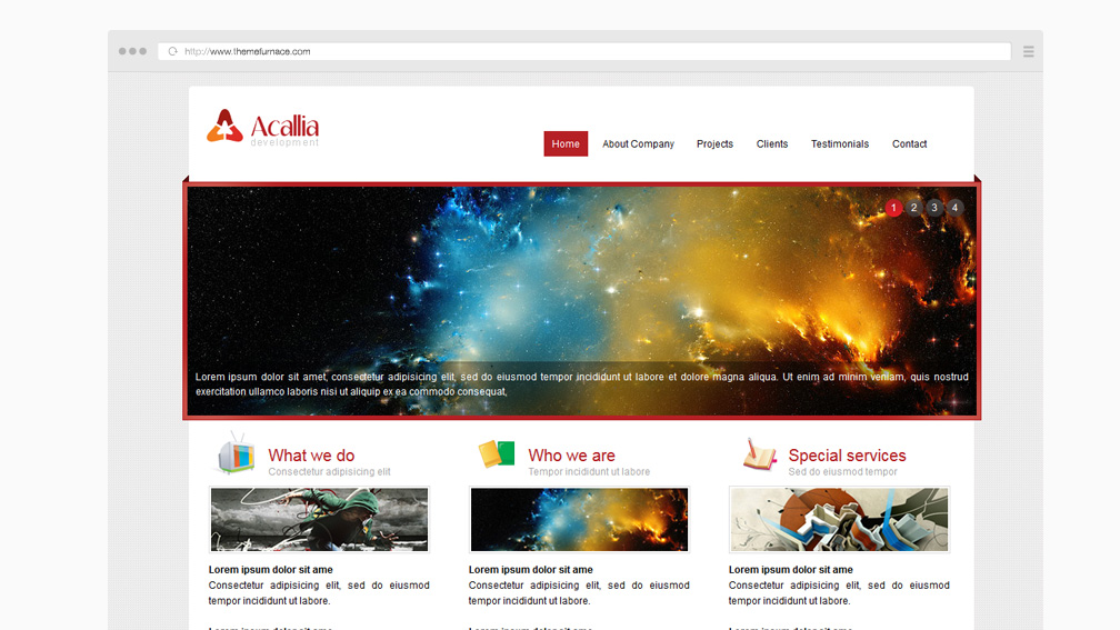create your own wordpress theme from an html template - acalia free business website template with inside page