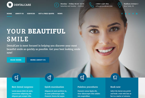 22+ Best Dentist WordPress Themes for 2017 [Updated]