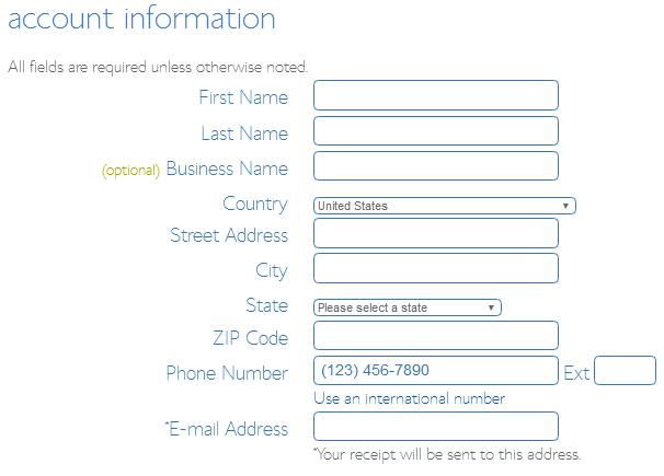 Bluehost Billing Information