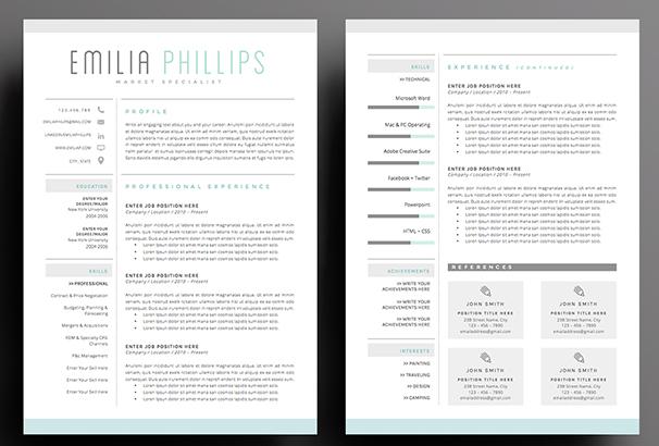 resume-template-3page-aqua