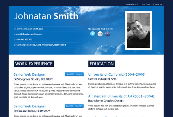 50+ Best Html Cv & Resume Templates To Download 2017