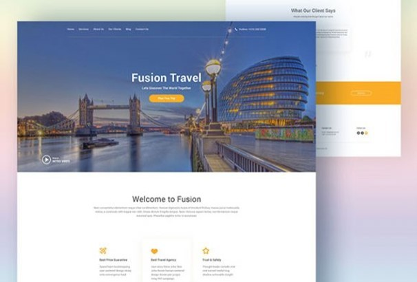 Fusion Website Template For Travel Agencies